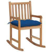 vidaXL Supama kėdė su mėlyna pagalvėle, tikmedžio masyvas