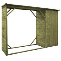vidaXL Sodo pašiūrė įrankiams ir malkoms, 253x80x170cm, pušies mediena