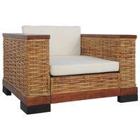 vidaXL Krėslas su pagalvėlėmis, rudos spalvos, natūralus ratanas
