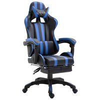 vidaXL Žaidimų kėdė su atrama kojoms, mėlyna, dirbtinė oda