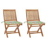 vidaXL Sodo kėdės su lapų raštų pagalvėlėmis, 2vnt., tikmedžio masyvas