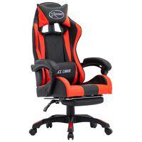 vidaXL Žaidimų kėdė su pakoja, raudona ir juoda, dirbtinė oda