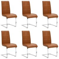 vidaXL Cantilever Dining Chairs 6 pcs Shiny Brown Faux Leather (3x282918)