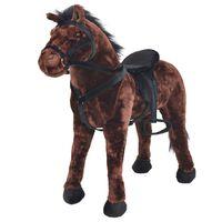 vidaXL Pastatomas žaislinis žirgas, pliušinis, tamsiai rudas, XXL