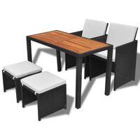 vidaXL Lauko valgomojo baldų kompl., 5d., juodas, polirat., akacija
