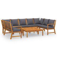 vidaXL Sodo baldų komplektas su pagalvėmis, 9 dalių, akacijos masyvas