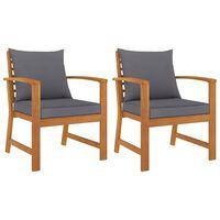 vidaXL Sodo kėdės su pilkomis pagalvėmis, 2vnt., akacijos masyvas