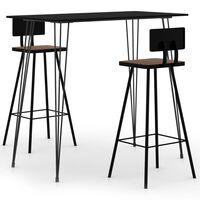 vidaXL Baro baldų komplektas, 3 dalių, juodos spalvos (248143+245390)