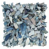 vidaXL Pagalvėlė Shaggy, mėlyna, 60x60cm, džinsas, oda ir medvilnė