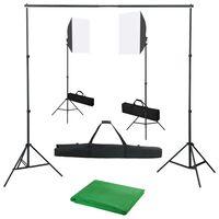 vidaXL Fotostudijos komplektas su šviesdėžėmis ir fonu