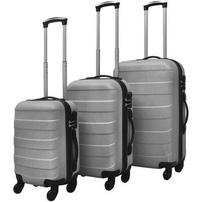 vidaXL Kietų lagaminų su ratukais komplektas, sidabro spalvos, Silver