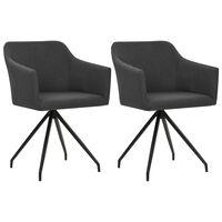 vidaXL Valgomojo kėdės, 2 vnt., tamsiai pilkos, audinys, pasukamos