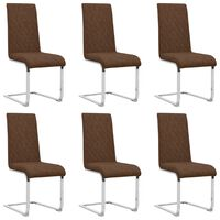 vidaXL Gembinės valgomojo kėdės, 6vnt., rudos spalvos, dirbtinė oda