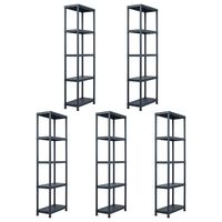 vidaXL Sandėliavimo lentynos, 5vnt., juod., 60x30x180cm, plast., 125kg