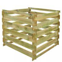 vidaXL Dėžė kompostui, 0,54m3, mediena, kvadratinė, grotelių dizaino