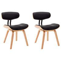 vidaXL Valgomojo kėdės, 2vnt., juodos, išlenkta med. ir dirbt. oda