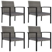 vidaXL Sodo valgomojo kėdės, 4vnt., pilkos spalvos, poliratanas