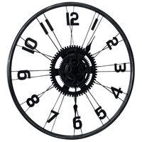 vidaXL Sieninis laikrodis, juodos spalvos, 60cm, metalas