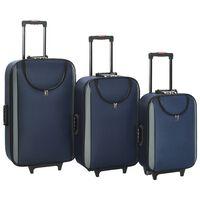 vidaXL Minkšti lagaminai, 3vnt., tamsiai mėlyni, oksfordo audinys