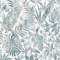 DUTCH WALLCOVERINGS Tapetai, mėlynos spalvos, su lapais ir tukanais