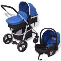 vidaXL 3-in-1 Vaikiškas sulankstomas vežimėlis, mėlynas ir juodas, aliuminis