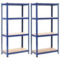 vidaXL Lentynos, 2vnt., mėlynos sp., 80x40x160cm, plienas ir MDF