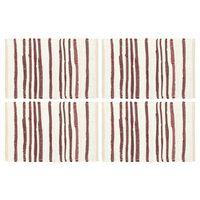 vidaXL Stalo kilimėliai, 4vnt., vyšninės+baltos sp., 30x45cm, medvilnė