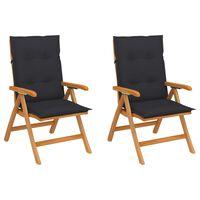 vidaXL Sodo kėdės su antracito pagalvėlėmis, 2vnt., tikmedžio masyvas