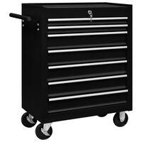 vidaXL Dirbtuvės įrankių vežimėlis, juodos spalvos, 7 stalčiai