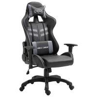 vidaXL Žaidimų kėdė, pilkos spalvos, dirbtinė oda