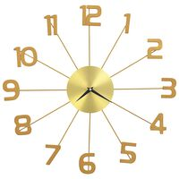 vidaXL Sieninis laikrodis, auksinės spalvos, 50 cm, metalas