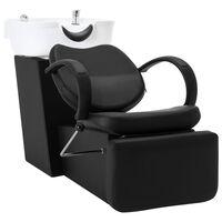 vidaXL Kirpyklos kėdė su plautuve, juoda ir balta, dirbtinė oda
