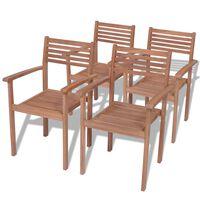 vidaXL Sudedamos sodo kėdės, 4 vnt., tikmedžio mediena