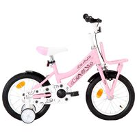 vidaXL Vaikiškas dviratis su priekine bagažine, baltas ir rožinis