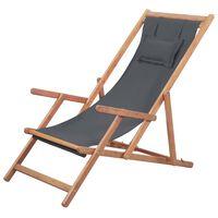 vidaXL Sulankstoma paplūdimio kėdė, audinys ir medinis rėmas, pilka