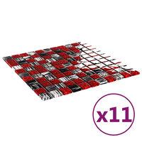 vidaXL Mozaikinės plytelės, 11vnt., juodos/raudonos, 30x30cm, stiklas