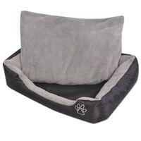 vidaXL Šuns guolis su minkšta pagalvėle, dydis L, juodas