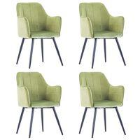 vidaXL Valgomojo kėdės, 4vnt., šviesiai žalios, aksomas (2x287819)
