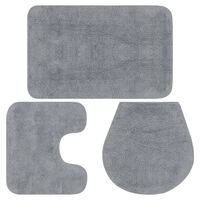 vidaXL Vonios kilimėlių rinkinys, 3d., pilkas, audinys