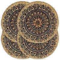 vidaXL Stalo kilimėliai, 4 vnt., tamsiai mėlyni, 38cm, džiutas