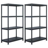vidaXL Sandėliavimo lentynos, 2vnt., juod., 80x40x138cm, plast., 200kg