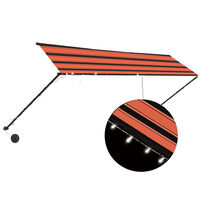 vidaXL Ištraukiama markizė su LED, oranžinė ir ruda, 400x150cm