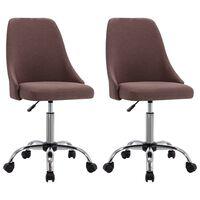 vidaXL Biuro kėdės su ratukais, 2vnt., taupe spalvos, audinys (323235)