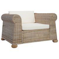 vidaXL Krėslas su pagalvėlėmis, natūralios spalvos, ratanas
