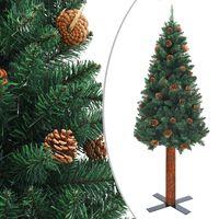 vidaXL Kalėdų eglutė su kankorėžiais, žalia, 150cm, PVC ir mediena