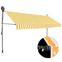 vidaXL Rankinė ištraukiama markizė su LED, balta ir oranžinė, 350cm