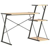 vidaXL Rašomasis stalas su lentyna, juodas ir ąžuolo, 116x50x93cm