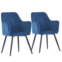 vidaXL Valgomojo kėdės, 2vnt., mėlynos spalvos, aksomas