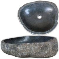 vidaXL Kriauklė, upės akmuo, ovalo formos, 30-37cm