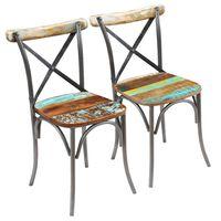 vidaXL Valgomojo kėdės, 2vnt., perdirbtos medienos masyvas